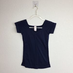 • TANCO • Stretchy Navy Top One Size w/Cutouts